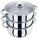 Vaporizador de cocina de acero inoxidable con 3 niveles de 24 cm, con tapa de cristal y tapa de ventilación