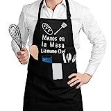 SSAWcasa Delantal de Cocina con 3 Bolsillos Ajustable...