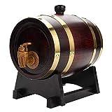 Barril de roble, barril de roble de 1.5/3/5/10 litros Barril de vino de madera de roble de roble de madera vintage para cerveza Whiskey Ron Puerto (1.5L)