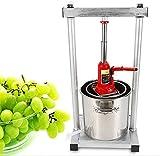 Jintaihua - Exprimidor de fruta (12 L, multifunción, prensa de vino, triturador de bayas, acero inoxidable, con soporte hidráulico Jack y accesorios)
