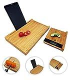 CherryTreeHouse - Tabla de cortar (4 en 1, bambú, soporte para iPad/tableta, báscula de medición y balanzas de pesaje extraíbles | Innovador ahorro de espacio, ahorro de tiempo | Regalo ideal