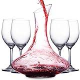 Mafiti Decantador de Vino con Copas incluídas (Cuatro Copas de Cristal). Jarra conservadora de Vino Tinto - Regalo Ideal enotecas - Accesorio para Regalar a los Amantes del Vino