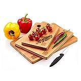 Tablas De Cortar Cocina en Madera Premium Extra-Gruesas - Juego de 3 Piezas en Madera de Bambú Para Picar - Certificación FSC y LFGB - Ideal Para Carnes, Verduras, Queso y Pan