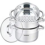 Mantowarka–Juego cocina al vapor 24cm Set Inducción olla vaporera Cristal Deck 4elementos KB de 7145