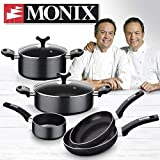 Monix Resistent Plus Batería De Cocina De 5 Piezas Y Lote De 2 Sartenes, Aluminio, Negro