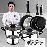 San Ignacio PK329 Set Juego de Tres sartenes + Batería de Cocina 5 Piezas, Cromado
