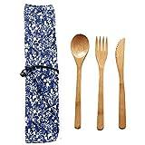 Yeaphy Bamboo Cutlery Set, Bamboo Travel Utensils...