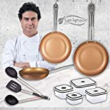 San Ignacio Copper Plus Set 3 sartenes + 4 fiambreras +...