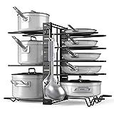 Organizador de ollas ajustable para 8 ollas y sartenes, encimera de cocina y soporte para tapa de armario con 3 métodos de bricolaje (6 ganchos incluidos)