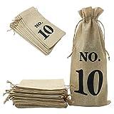 Shintop 10 bolsas de yute, 14 x 6 1/4 pulgadas, bolsas de regalo para botellas de vino con cordón para cata de vino ciego (n.º 1-No.10, marrón)