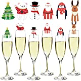 Marcador de copa de vino, 48 piezas, adornos de copa de vino de Navidad, tarjeta decorativa, identificador de copa para beber, cóctel, accesorios para vino, regalos para anfitrionas