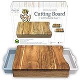 Tabla de cortar con bandeja - Tabla de cortar acacia -...