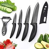 Cuchillo de Cerámica Set, Cuchillos Cocina Cerámica, Juego de Cuchillos, Cuchillos Cocina Set, 4 x Cuchillos, 1 x Pelador Estuche Protector de Goma, Mango ergonómico, Resistente a la Corrosión