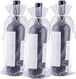 G2PLUS 30PCS Bolsas para Botellas de Vino de Organza Bolsas de Regalo para Botellas de Vino de750 ml con Cordón para Envolver Botellas de Vino,Blanco14 x 37 CM