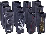 Bolsas de regalo para vino. Paquete de 12 bolsas de gran calidad para botellas de vino, licor, champán, color Todas las ocasiones - Negro 12-Pack