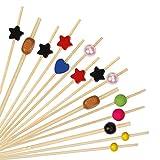 Palillos de Cóctel Multicolor Brochetas de Bambú...