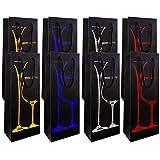 YLX Bolsas de Vino, Elegante y Con Estilo Bolsas de Regalo Botella Vino para Vino, Prosecco y Champán, 4.8x3.1x13.9in(8 Pack)