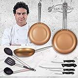 San Ignacio Copper Plus Set 3 Sartenes + 4 Cuchillos + 3 Utensilios, Aluminio Prensado, Multicolor