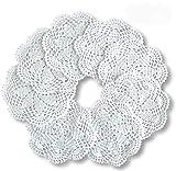8 manteles redondos de encaje de algodón de ganchillo, hechos a mano, color blanco, de 7 pulgadas, de DUDUDUA
