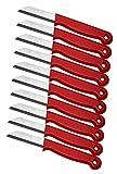Schwertkrone - Juego de 10 cuchillos de cocina para pelar (acero inoxidable, 16 cm, hoja de 6 cm), color rojo