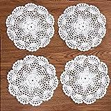 Eiyye - Posavasos redondo (4 piezas, hecho a mano, algodón, algodón, 20 cm), color blanco